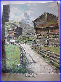J. Wagner Peinture Huile Sur Toile Signee Paysage Montagne