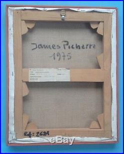 James PICHETTE (1920-1996) Tableau HST Huile sur toile de 1975 Abstrait 41x33cm