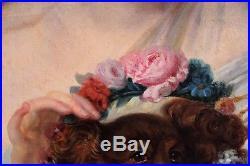 Jean Baptiste GREUZE, Portrait, femme, France, peinture, tableau, chien, XVIII