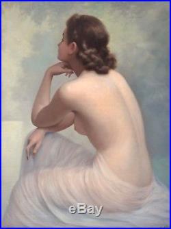 Jean JANNEL (1894-). Nu. Beau et grand tableau encadré. Paris