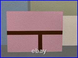 Jean Legros (1917-1981) Rare Peinture Sur Toile Abstraction Geometrique 1974