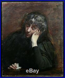 Jeanne CHOPARD-MAZEAU (1861-1896) Portrait de femme HST Carolus Duran Thoret