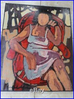 Jef FRIBOULET (1919-2003)-Fécamp-Normandie-huile/toile-femme assise-HST-OIL