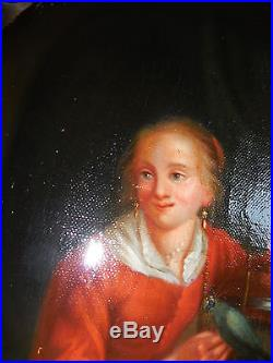 Jeune fille a l, oiseau ecole hollandaise du XVIII é siecle ds gout van mieris