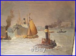 Johann ROCKX tableau marine du port de Rotterdam peinture huile navires cargos