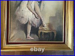 Jolie Peinture, Huile Sur Toile Danseuse Ballerine Georges Pierre Guinegault