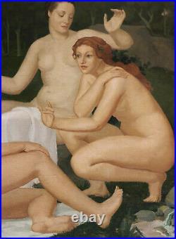 Joseph LAILHACA tableau huile paysage arcadien femmes nues BORDEAUX Art Déco