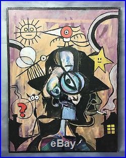 Juan Carlos Aznar (1937-2003) Hommage A Agatha Christie 1982 Huile Sur Toile