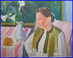 Jules CAVAILLES (1901-1977) Huile sur toile, Femme au bouquet