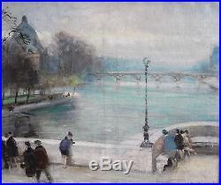 Jules René-Hervé (1887-1981) Huile sur toile, Passerelle des Arts, signée