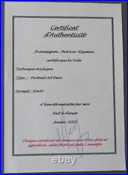 KLEYMAN Superbe Tableau Côté AKOUN 70x50 Kiki de Montparnasse Direct Artiste