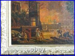 LE GRAND INCENDIE DE ROME-REMARQUABLE & PUISSANTE PEINTURE ANONYME XVIIIe/XIXe
