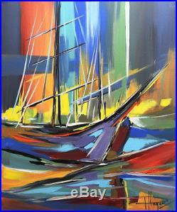 LE VOILIER 46X38CM tableau peinture huile oil PFLEGER MANDRAFINA