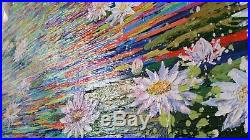L'étang aux lotus GRAND FORMAT 70x100cm Acrylique sur toile fait main GalinaN