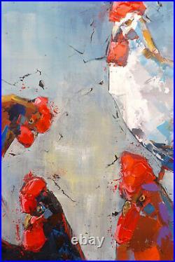 La basse-cour GRAND FORMAT oeuvre originale JP Douchez sur toile 100x73cm