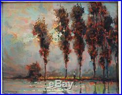 Le pécheur par Chavanne bord de rivière impressionniste