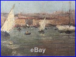 Le port de Marseille, huile sur toile fin XIX° debut du XX°siècle