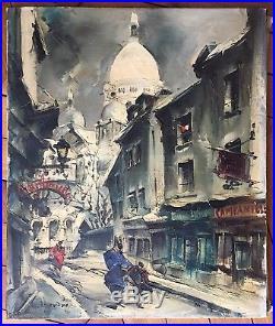 Legendre Maurice Huile sur toile signée Montmartre en hiver Sacré Coeur Paris