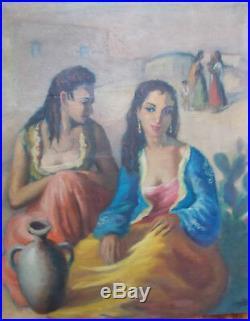 Les Gitanes, Huile sur Toile de Jose Lamuño