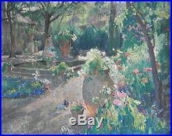 Louis Agricol Montagne 1879-1960. Jardin avec femme et enfant Huile/toile v1006