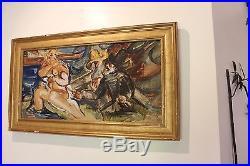Louis Latapie Huile sur papier marouflé sur toile Suzanne et les vieillards