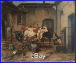 Louis PIVOT (XIXème XXème) tableau huile sur toile scène de ferme bovins poules