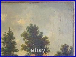 MAGNIFIQUE PEINTURE-ÉCOLE FLAMANDE-PAYSAGE ANIMÉ-SIGNÉ C. V. B-XVIIIe OU XVIIe