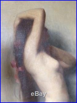 MAGNIFIQUE TABLEAU ANCIEN-XX EME-NU FÉMININ-HUILE SUR TOILE-90x72 cm