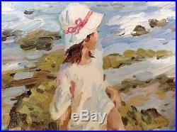MAKAROV Alexei Impressionniste Russe Marine Fillette Mer Mouettes Huile Cadre