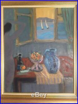 MALTESE Jean Pierre (1946) Grand Nu Jeune fille à la fenêtre Huile Toile signée