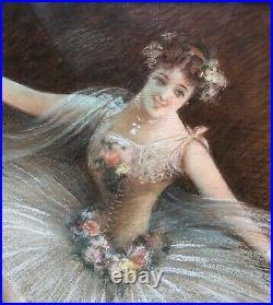 MANTELET Albert Pastel Portrait Femme Danseuse Costume Tutu Opéra Peinture 1900