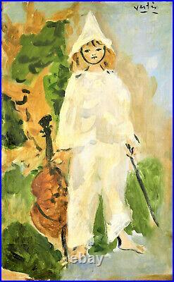 MARCEL VERTES (1895-1961) Pierrot, musicien Huile / toile. V1115