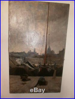 MONTENARD Frédéric Tableau peinture à l'huile Bord de La Seine PARIS signé 1877