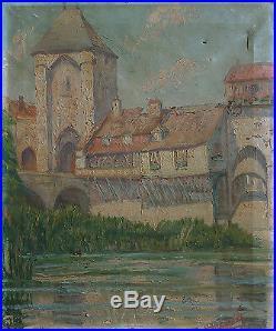 MORET-SUR-LOING Peinture impressionniste vers 1910 signée A restaurer