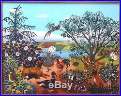 Mady de la Giraudière huile sur toile art naïf Notre-Dame de la peinture naïve