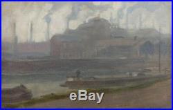 Magnifique Paysage Urbain Raymond Tellier (1897-1985) Huile Sur Toile