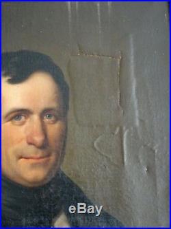 Magnifique Peinture À Restaurer Portrait D'homme Élégant Datant De 1840