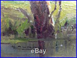 Magnifique Peinture Impressionniste, XIXème, Huile sur Toile, Signée, Encadrée