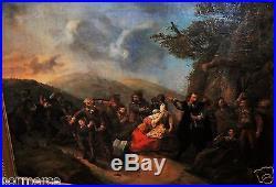 Magnifique grande peinture bataille Ecole flamande Ferdinand De Braekeleer 1861