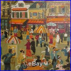 Marc SVABIC Tableau Huile sur toile Art Naif PARIS place du tertre 1985