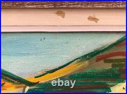 Marcel Basler Huile Sur Toile Paysage Abstrait 1955 Cadre Ceruse Dedicace C2352