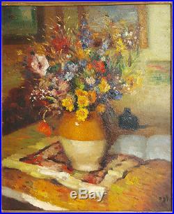 Marcel DYF Tableau HUILE sur TOILE 1930's HST Signe VASE de FLEURS Peinture Art