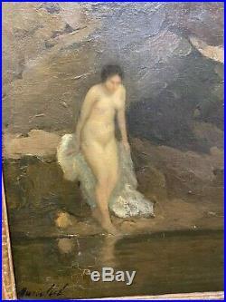 Marie Marguerite RÉOL (1880-1963), La Baignade circa 1910 symboliste ancien nu