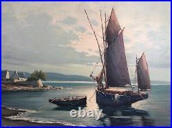 Marine. Huile sur toile. Bateaux -paysage de Bretagne epoque 1900-20