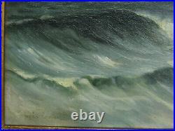 Marine, mer, peinture tableau huile sur toile, phare, voiliers, vagues, signé