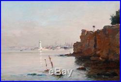 Marius REYNAUD, Marseille, Phare, Port, Joliette, Tableau, Peinture, marine, art