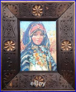 Martin Lindenau Tableau Orientaliste Portrait Femme Marocaine
