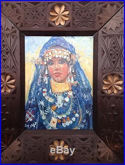 Martin Lindenau Tableau Orientaliste Portrait Femme Marocaine Berbère