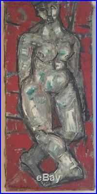 Maurice BOULNOIS-D. 1913-2011. Nu. 1959. Huile sur toile. SHG et SBG