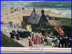 Maurice F Perrot Huile Sur Toile Procession Bretonne / Paysage Marin Bretagne